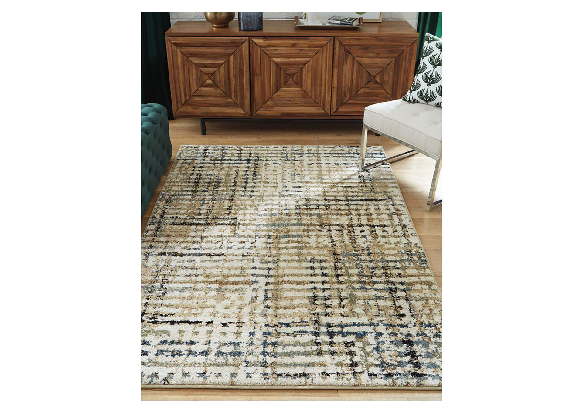 Mahina Tan/Blue/Cream Large Rug,Signature Design By Ashley