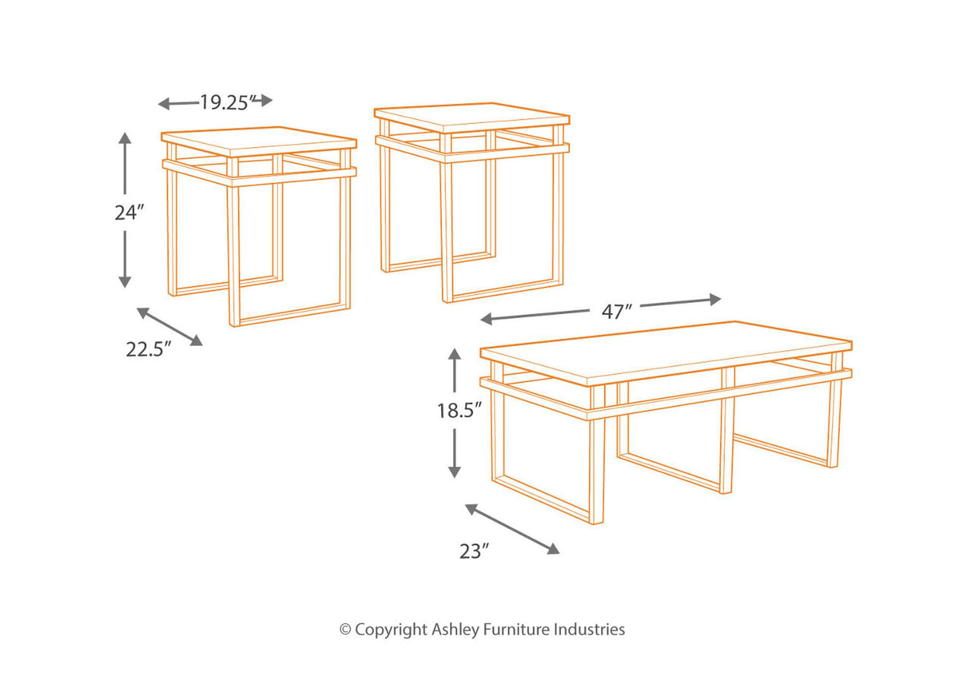 Laney Occasional Table Set (Cocktail & 2 Ends),Signature Design By Ashley