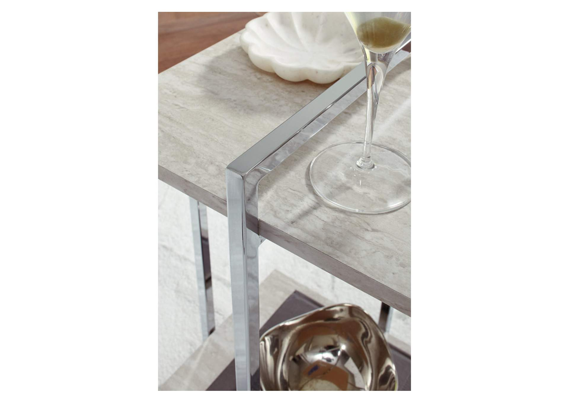 Bodalli Ivory/Chrome Chairside Table,Signature Design By Ashley