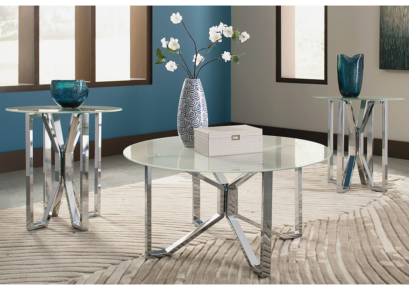 Tangeline Brushed Nickel Occasional Table Set,Signature Design By Ashley