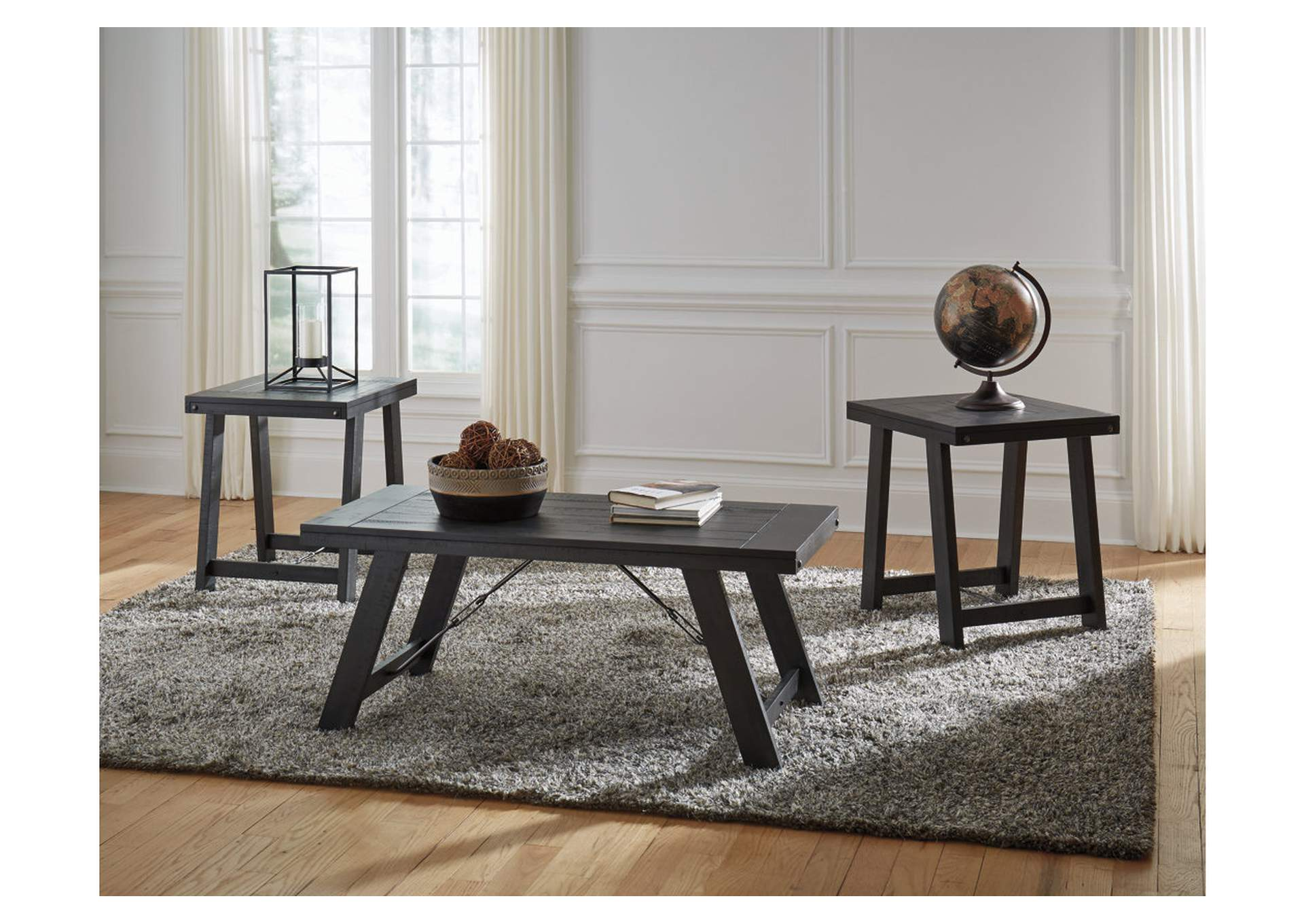 Noorbrook Black/Pewter 3 Piece Occasional Table Set,Signature Design By Ashley