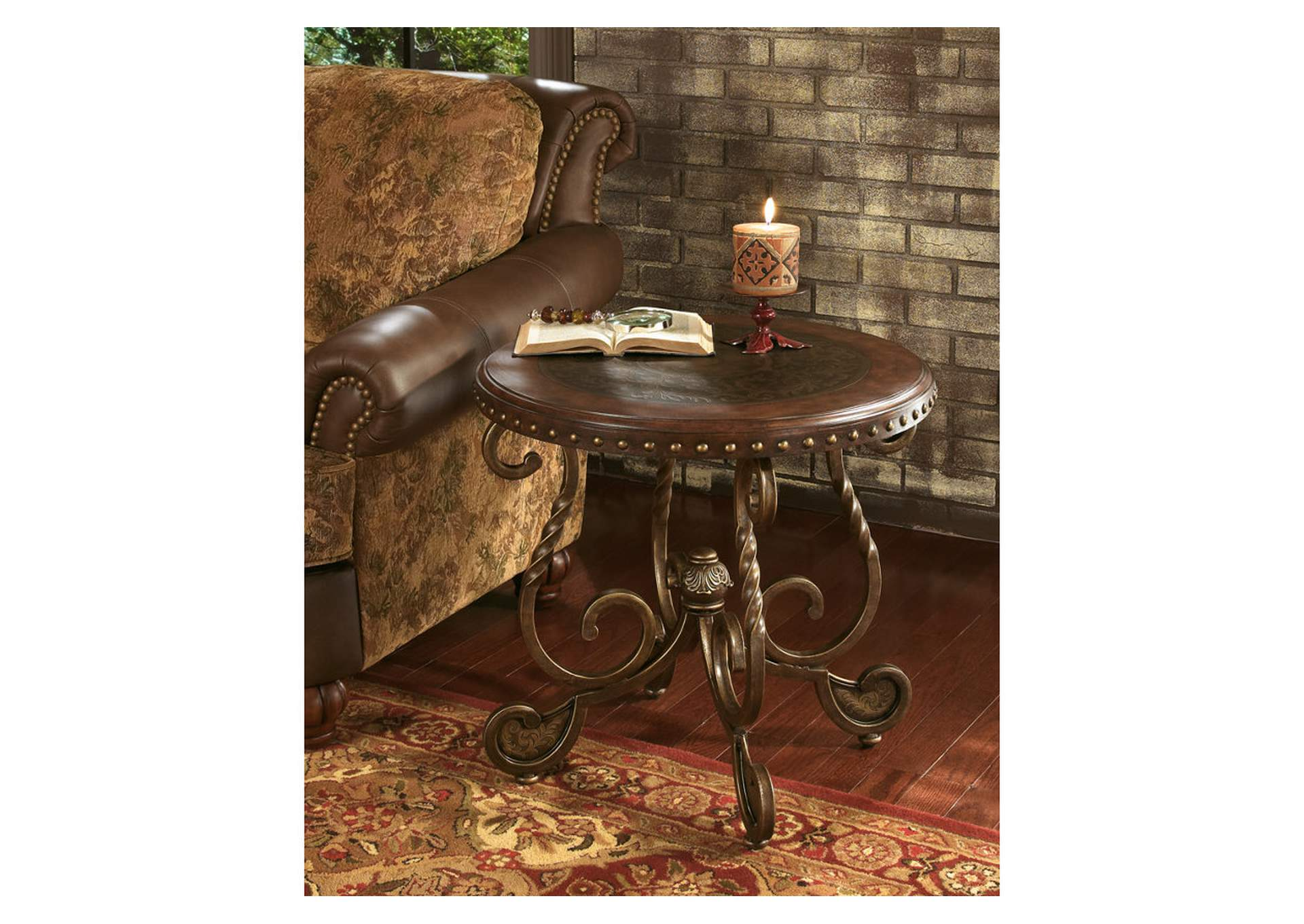 Rafferty Round End Table,48 Hour Quick Ship