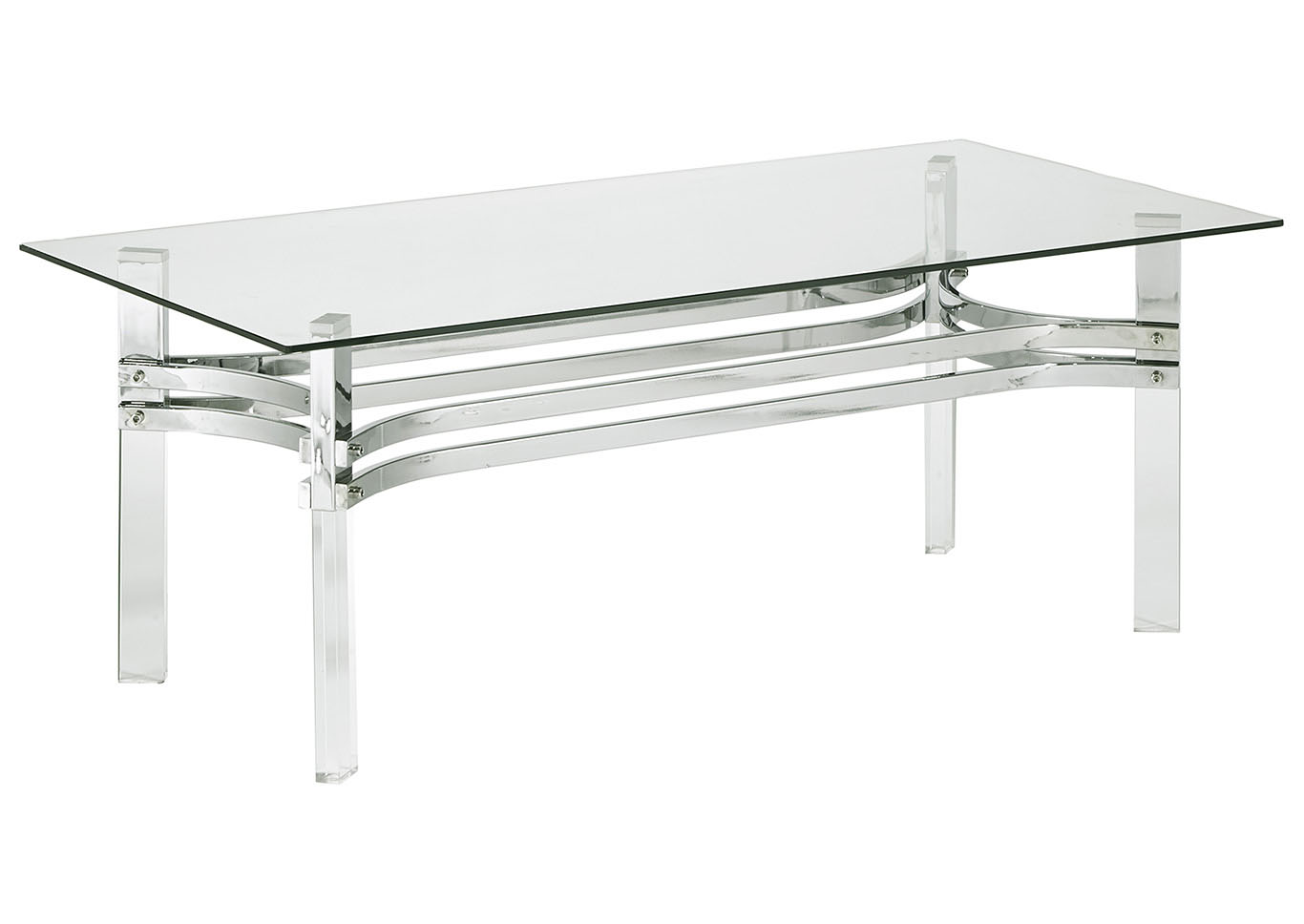 Braddoni Chrome Rectangular Cocktail Table,Signature Design By Ashley