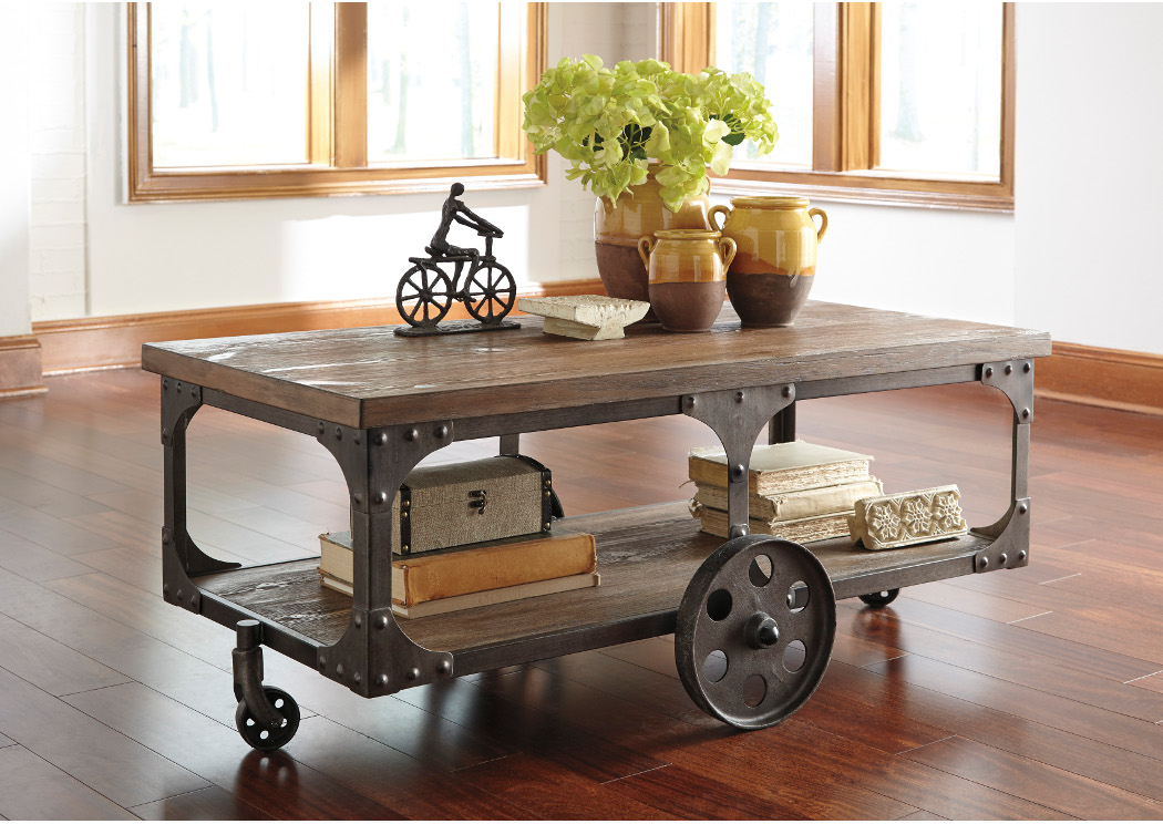 Nix Home Center Stamps AR Rustic Storage Cocktail Table - Ashley center table