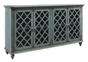Ivan Smith Mirimyn Antique Teal 4 Door Accent Cabinet