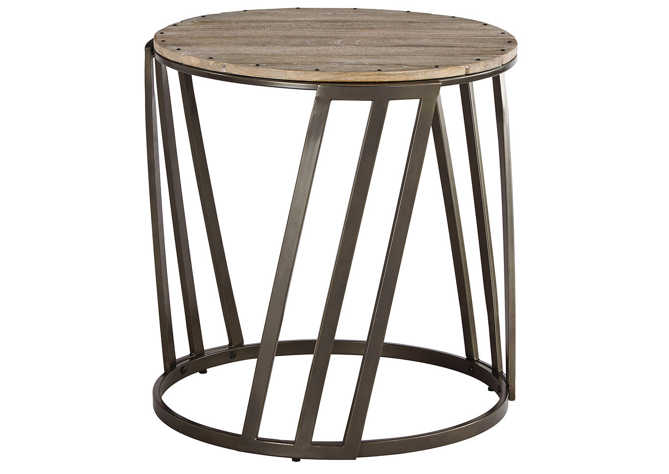 Fathenzen Two Tone Round End Table,48 Hour Quick Ship
