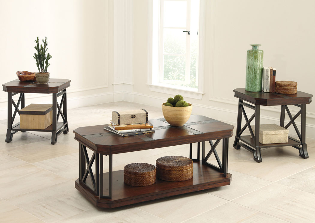 Vinasville Occasional Table Set (Cocktail & 2 Ends),Signature Design By Ashley