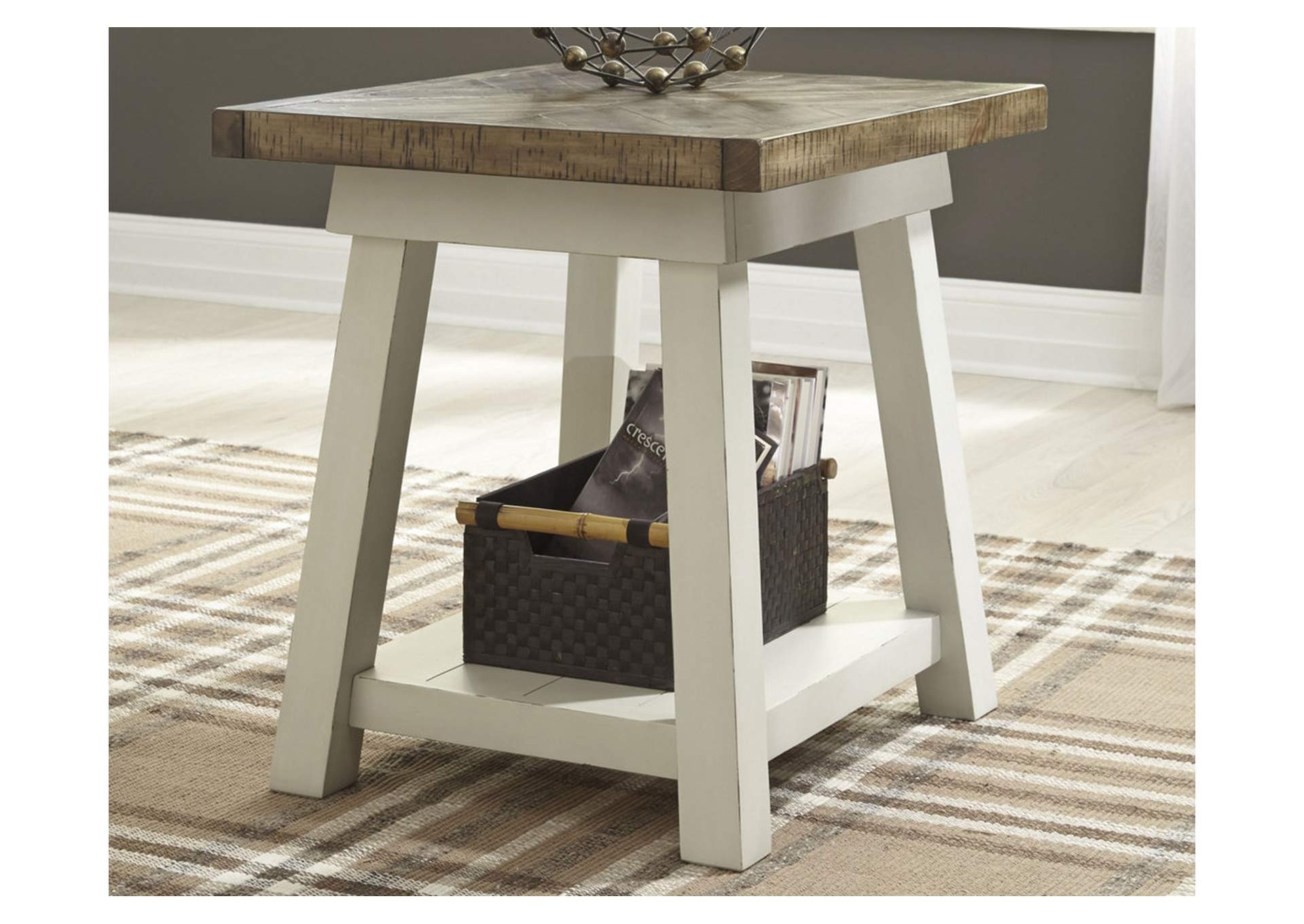 Strolburg Brass Finish Rectangular End Table,Signature Design By Ashley