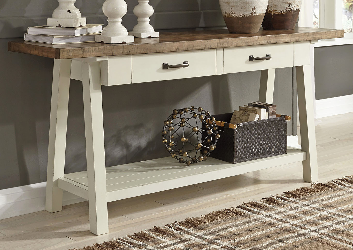Strolburg Brass Finish Sofa Table,Signature Design By Ashley