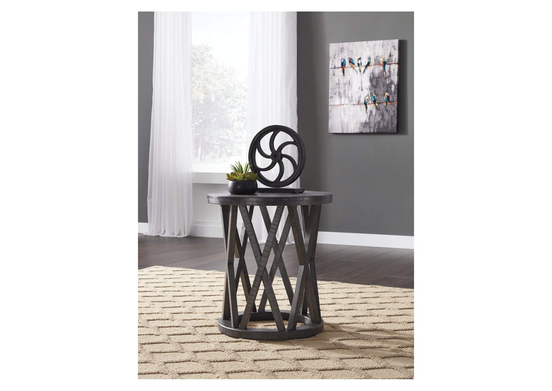 Sharzane Grayish Brown Round End Table,Signature Design By Ashley
