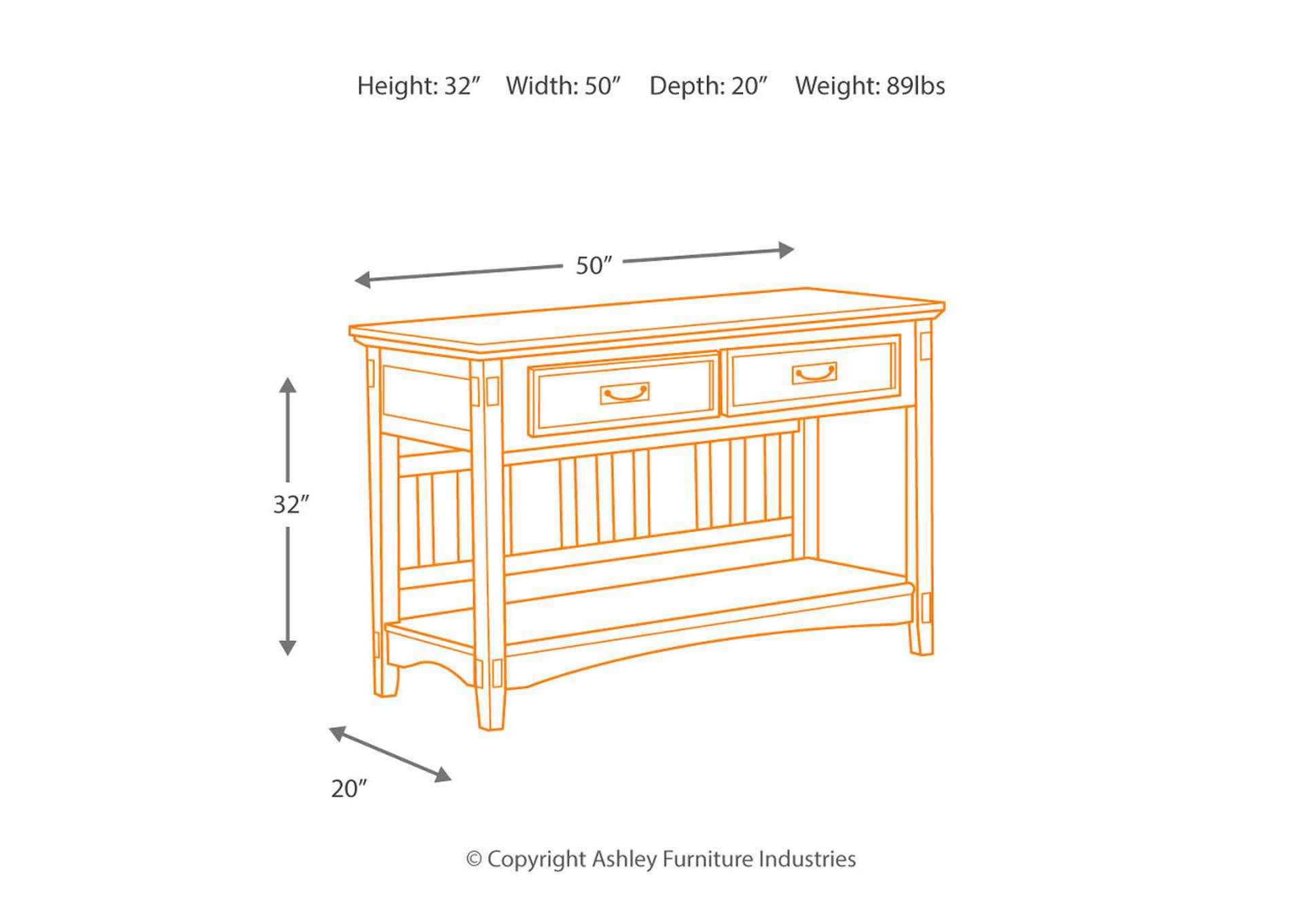 Cross Island Sofa Table,Signature Design By Ashley