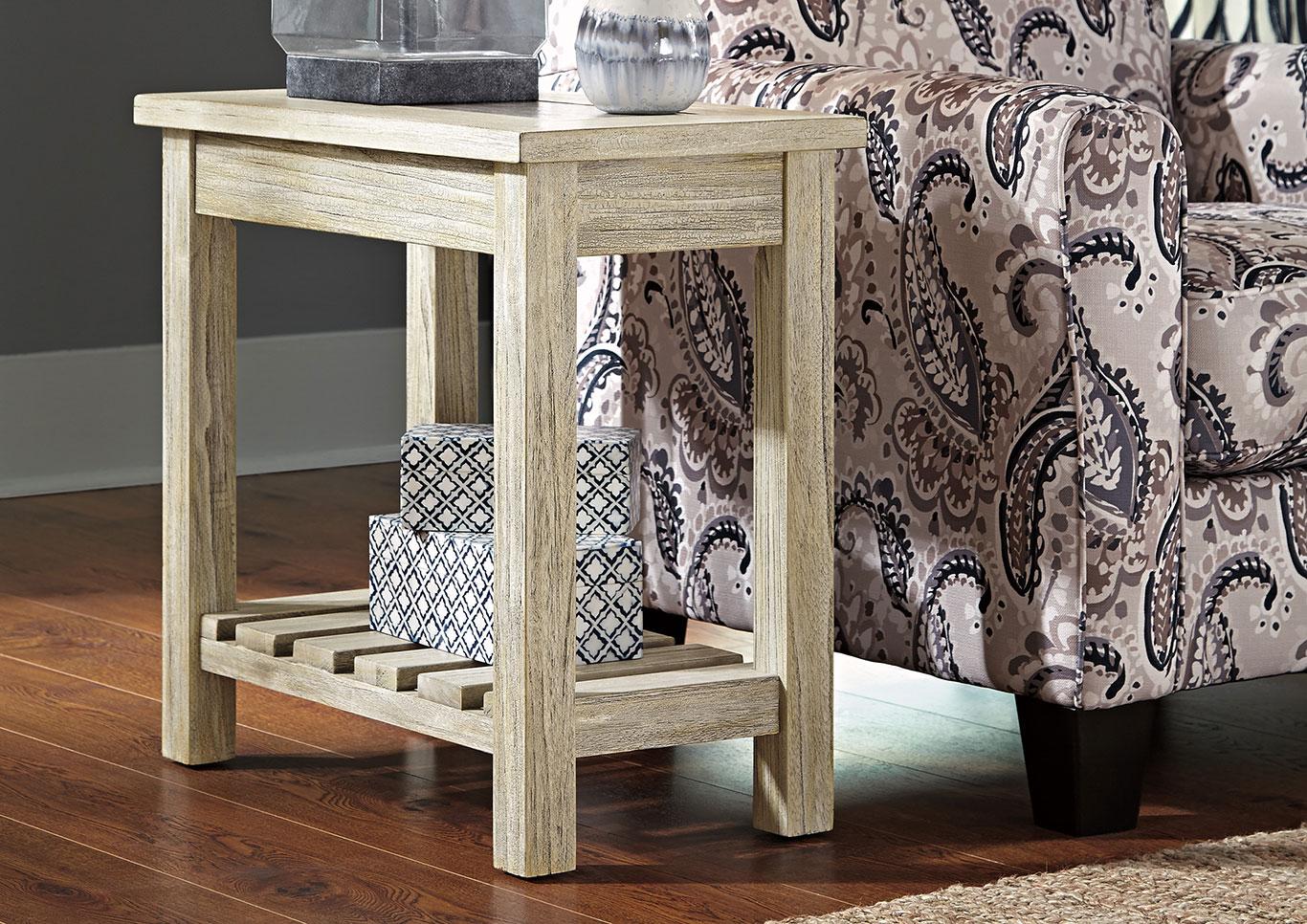Ivan Smith Veldar Whitewash Chair Side End Table - Ashley veldar coffee table