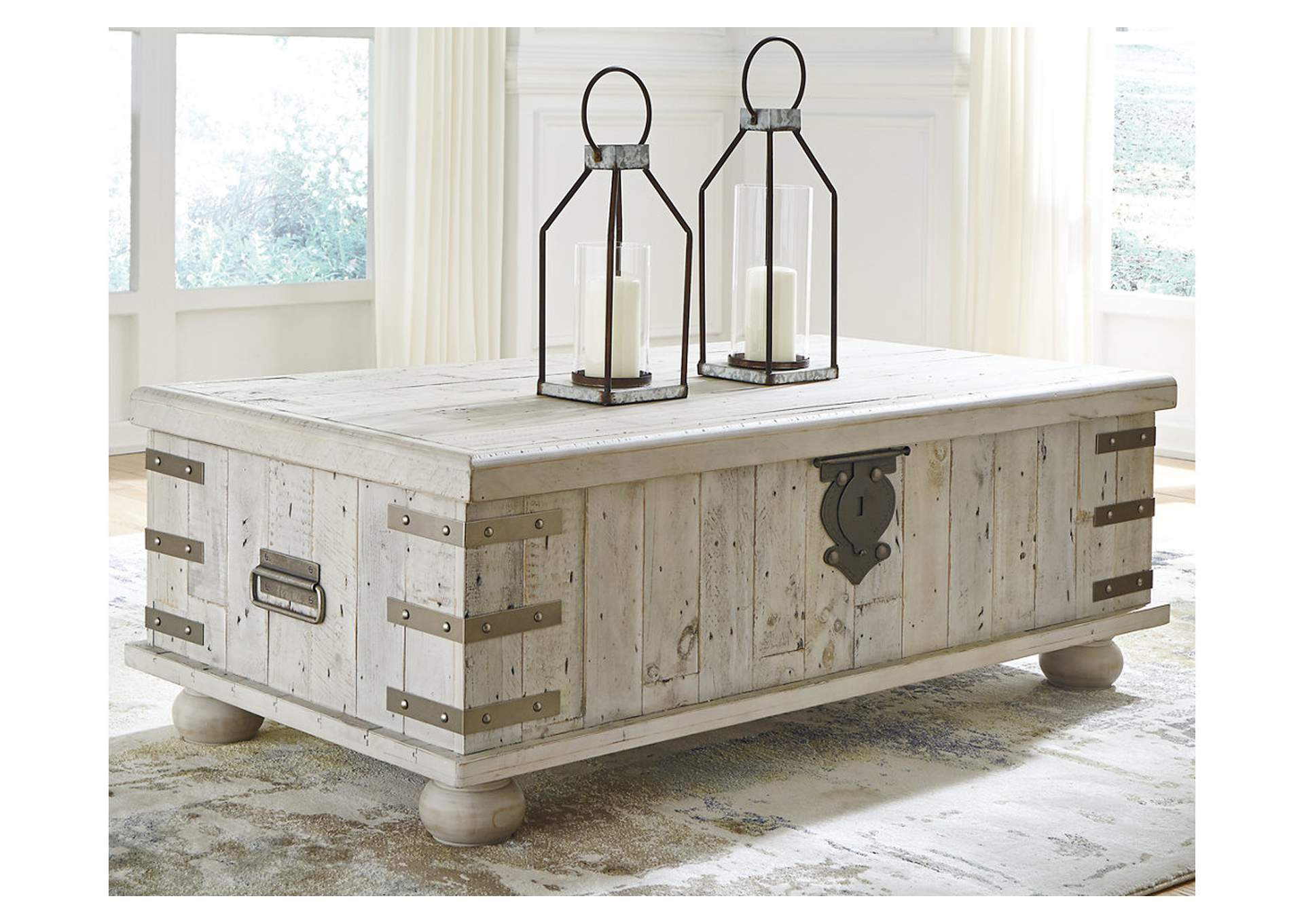 Carynhurst White Wash Gray Lift Top Cocktail Table,Signature Design By Ashley