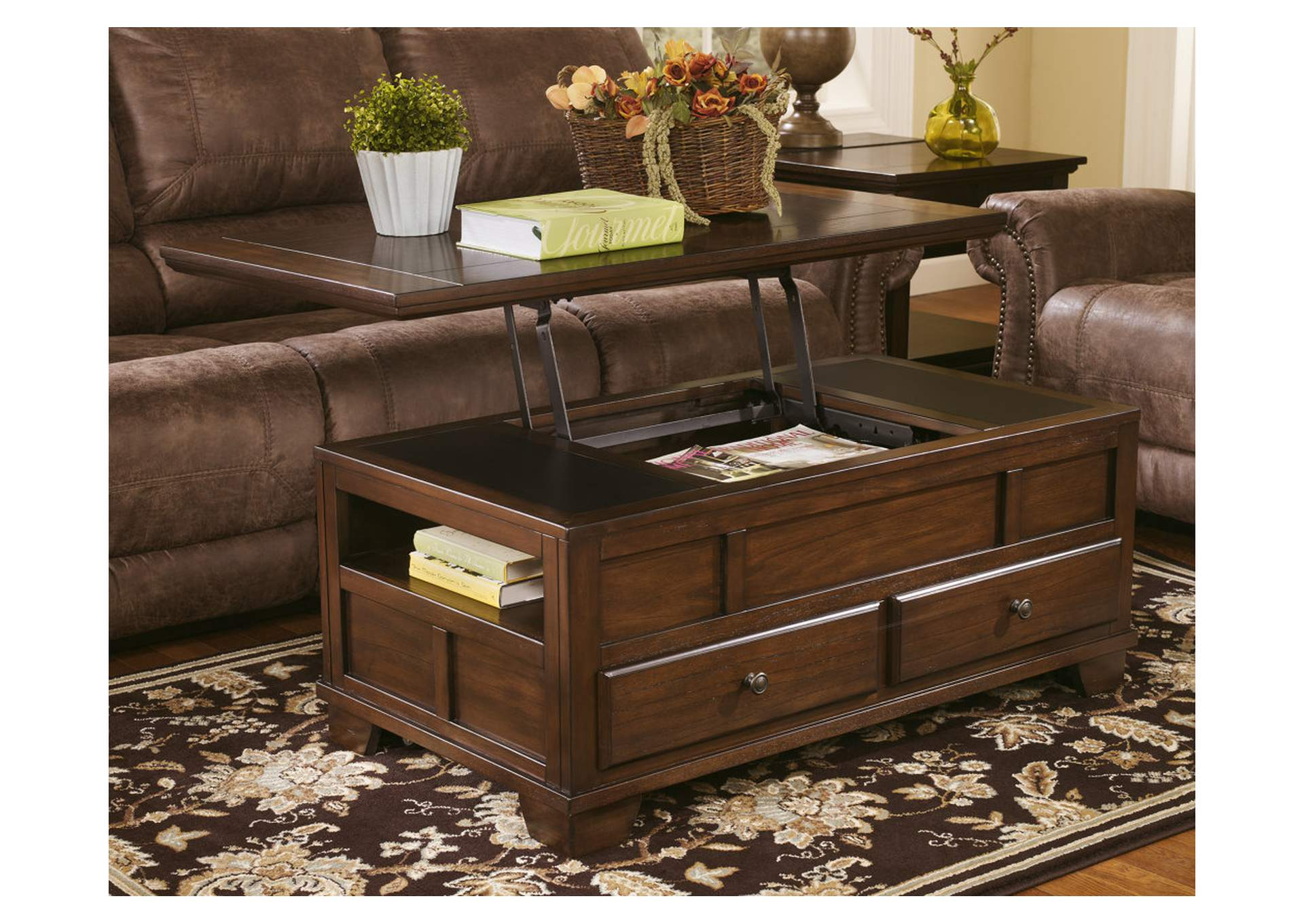 Gatley Medium Brown Lift Top Coffee Table,48 Hour Quick Ship