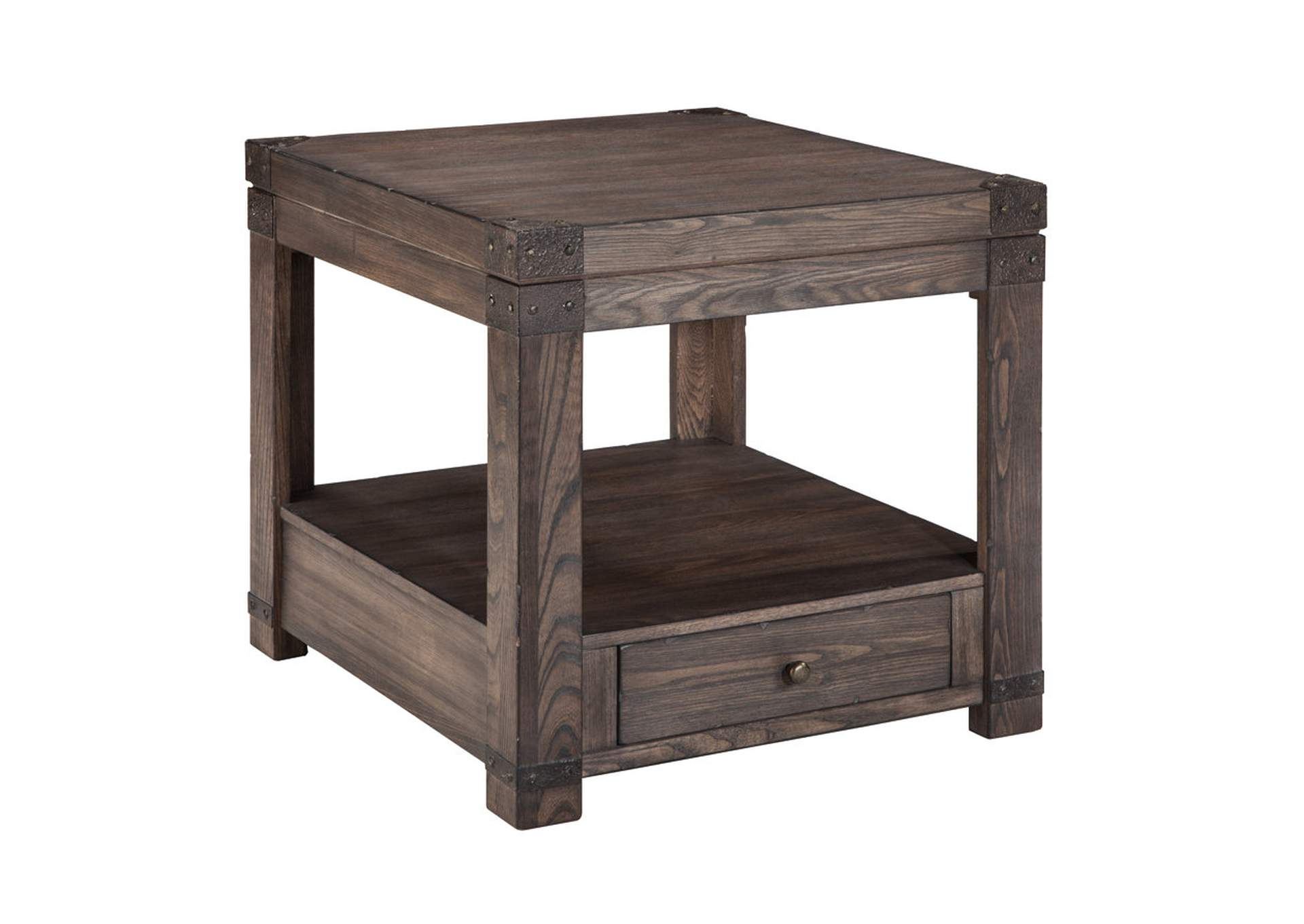 Burladen Grayish Brown Rectangular End Table,Signature Design By Ashley