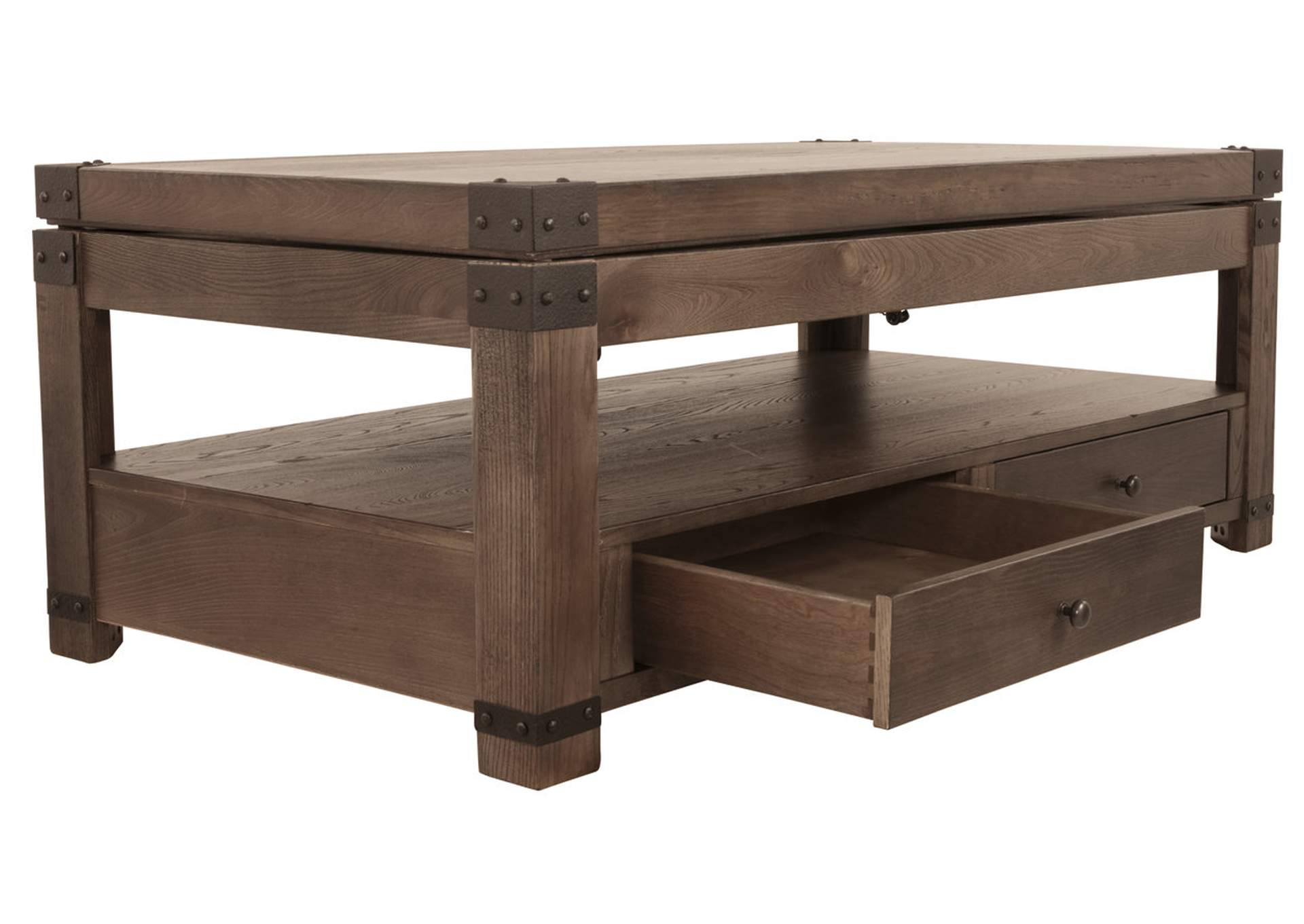Burladen Grayish Brown Rectangular Lift Top Cocktail Table,Signature Design By Ashley