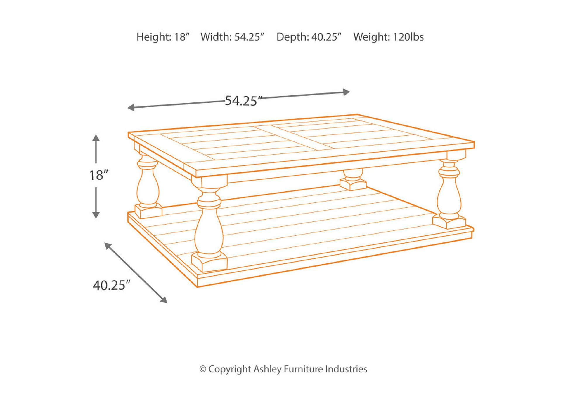 Mallacar Rectangular Cocktail Table,Signature Design By Ashley