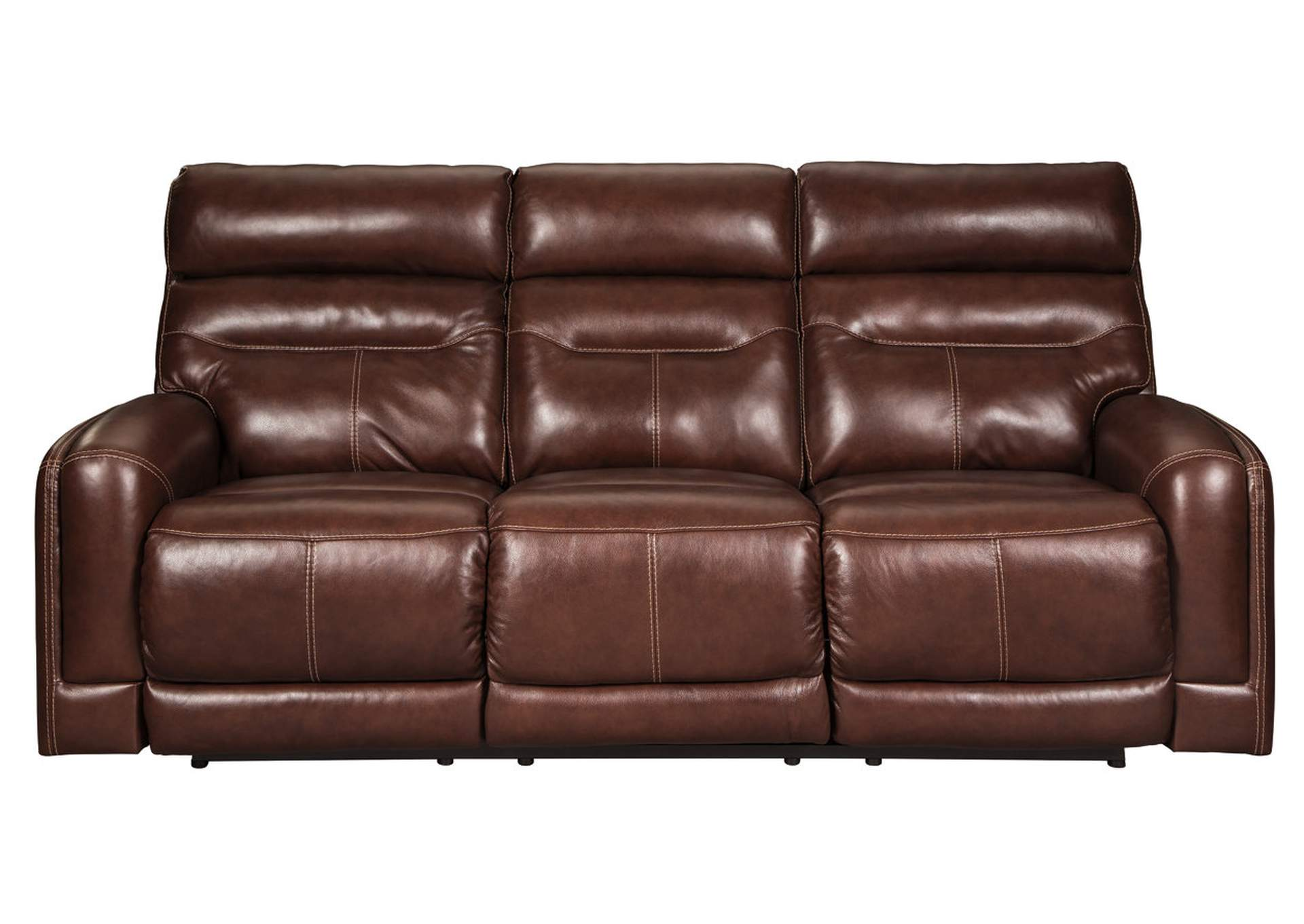 Sessom Walnut Power Reclining Sofa w/Adjustable Headrest,Signature Design By Ashley