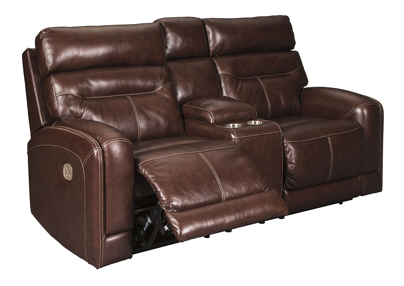 Sessom Walnut Power Reclining Loveseat w/Adjustable Headrest and Console,Signature Design By Ashley