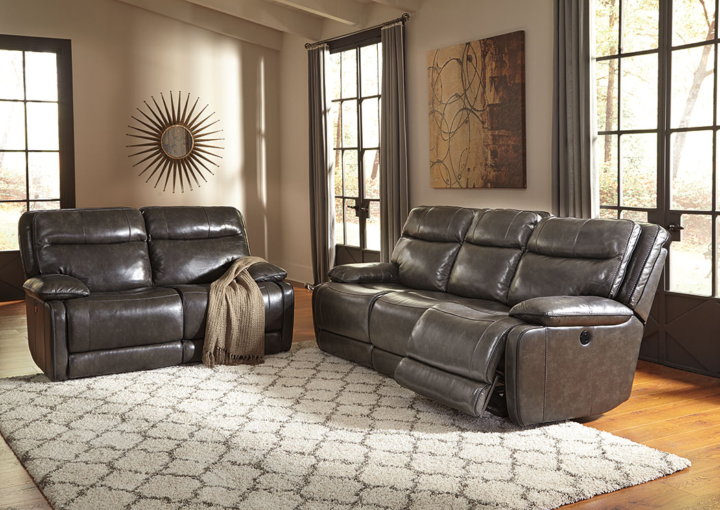 Palladum Metal Power Reclining Sofa & Loveseat,Signature Design By Ashley