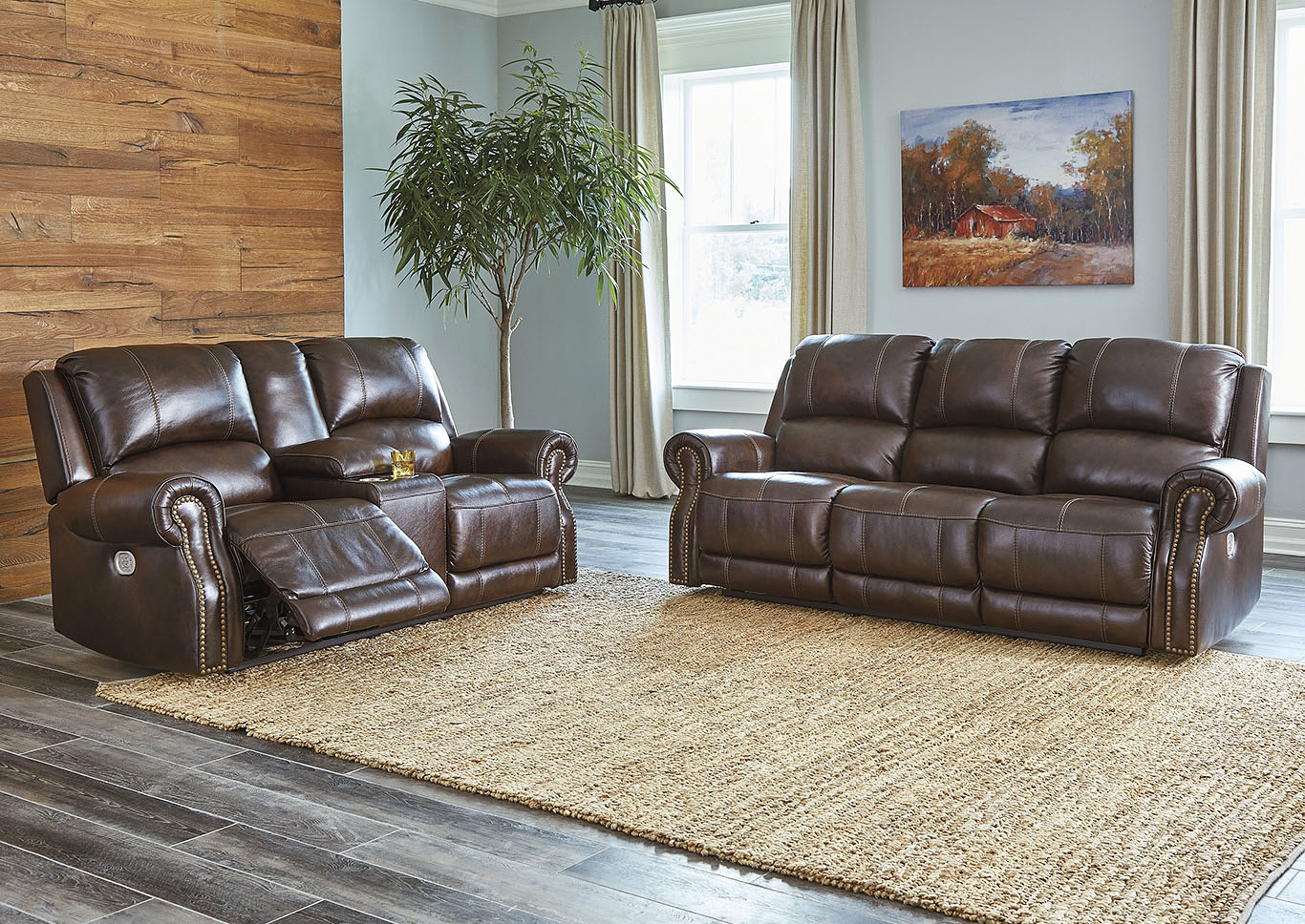 Buncrana Chocolate Power Reclining Sofa & Loveseat w/Adjustable Headrest,Signature Design By Ashley
