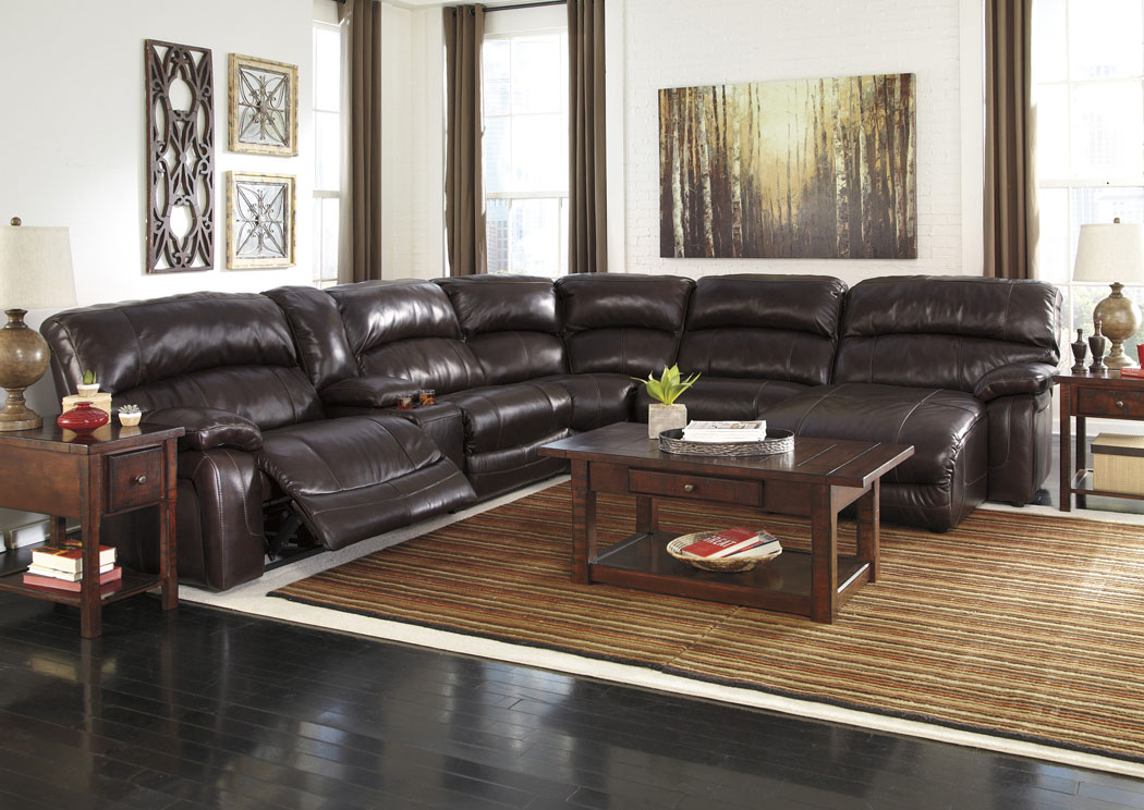 Ivan smith damacio dark brown reclining right facing for Brown leather chaise end sofa