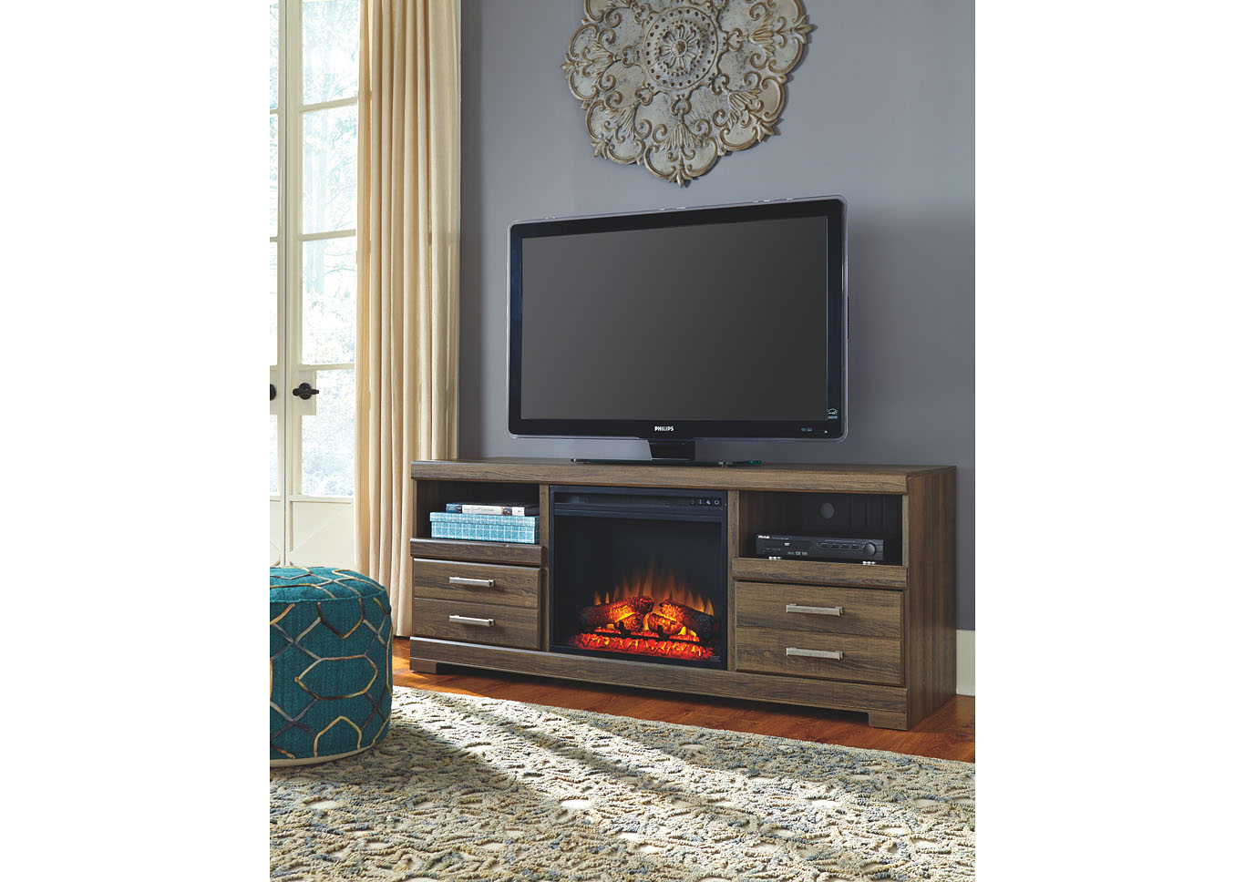 Frantin Large TV Stand w/ LED Fireplace Insert,Signature Design By Ashley