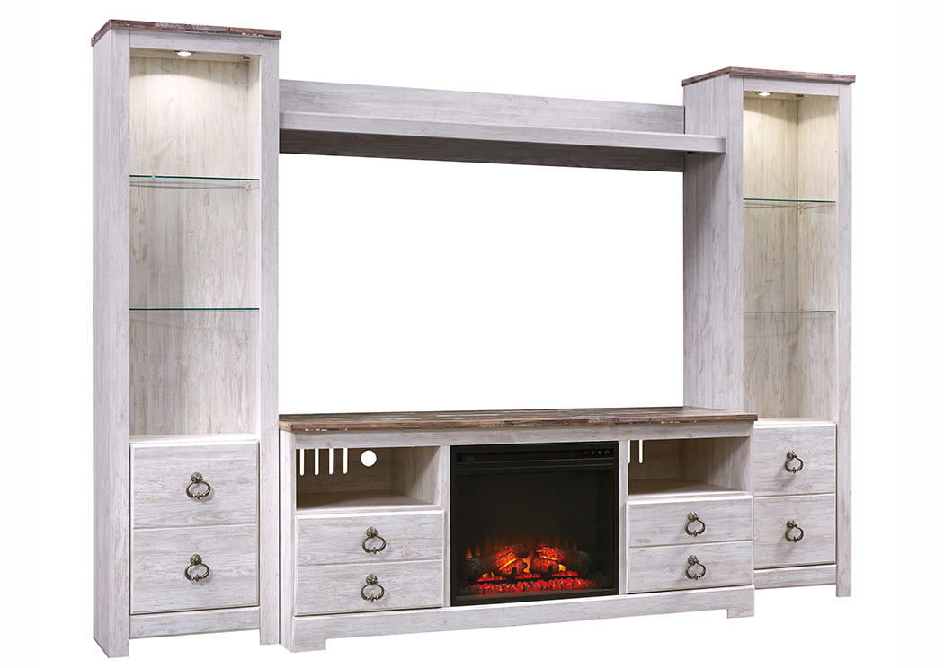 Brothers Fine Furniture Willowton Whitewash Entertainment Center  W/Fireplace Insert