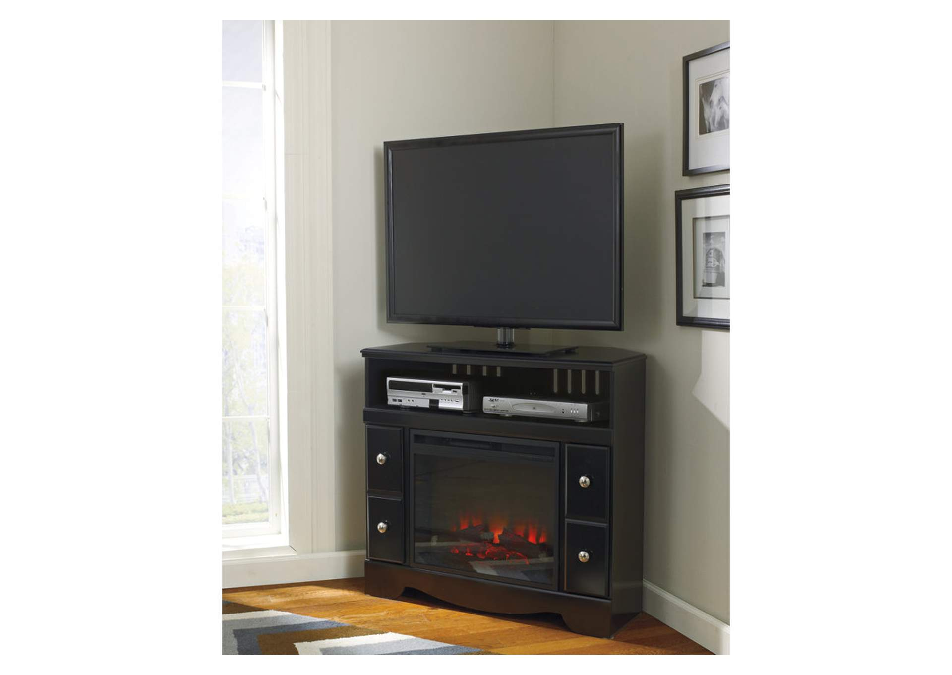 Shay Corner TV Stand w/LED Fireplace,Signature Design By Ashley