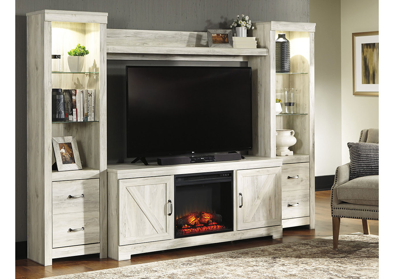 Bellaby Whitewash Entertainment Center w/Black Fireplace Insert,Signature Design By Ashley