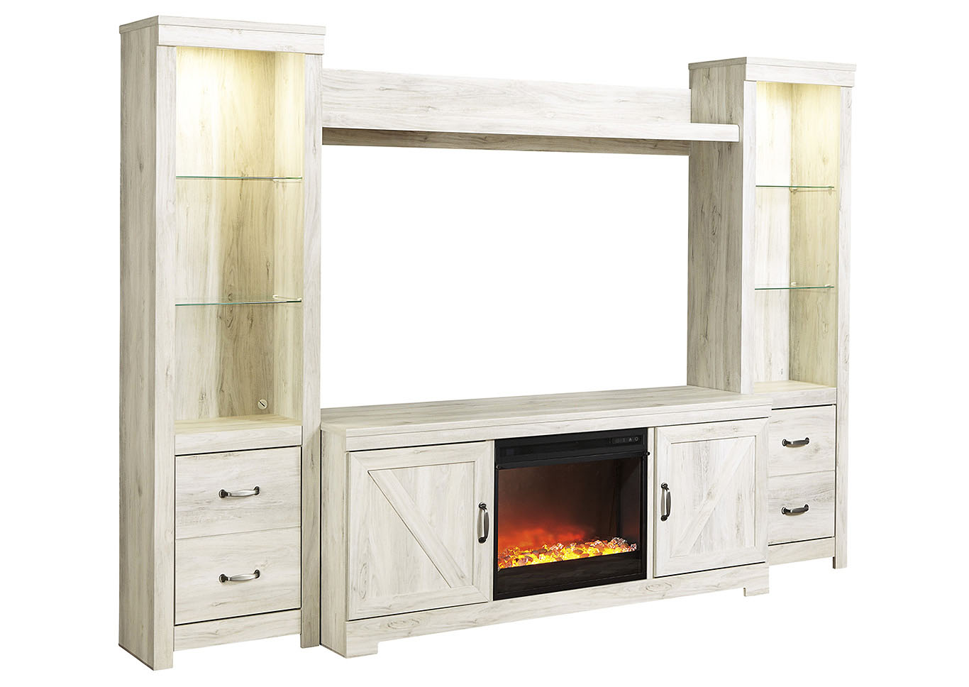 Bellaby Whitewash Entertainment Center w/Black Glass/Stone Fireplace Insert,Signature Design By Ashley
