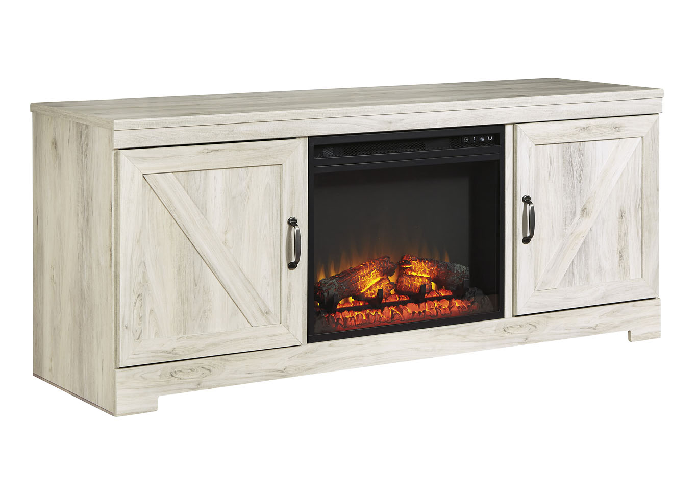 Bellaby Whitewash LG TV Stand w/Black Fireplace Insert,Signature Design By Ashley