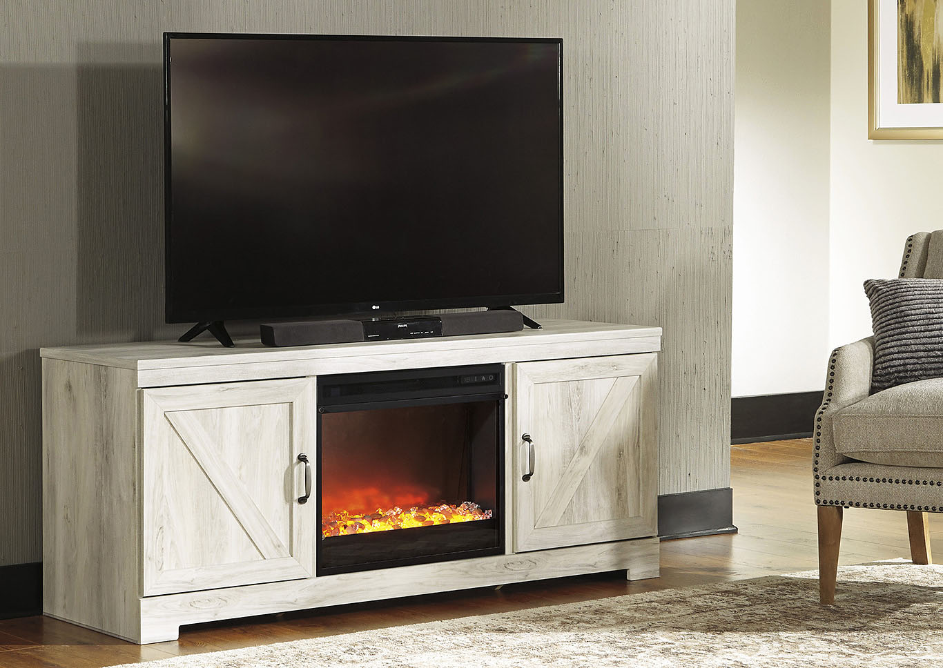 Bellaby Whitewash LG TV Stand w/Black Glass/Stone Fireplace Insert,Signature Design By Ashley
