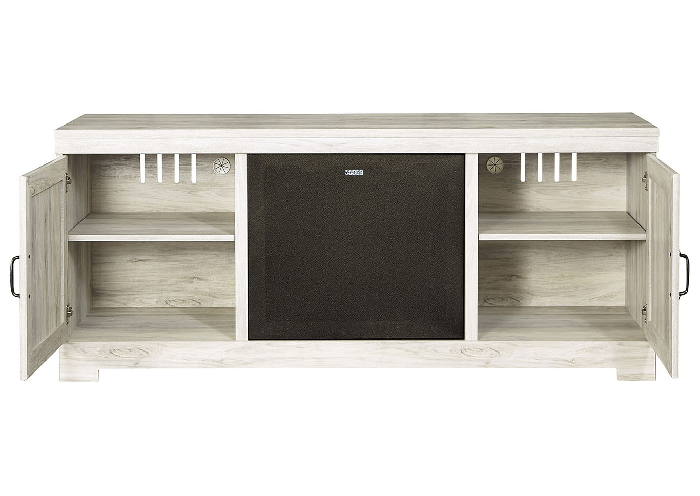 Bellaby Whitewash LG TV Stand w/Black Large Integrated Audio,Signature Design By Ashley