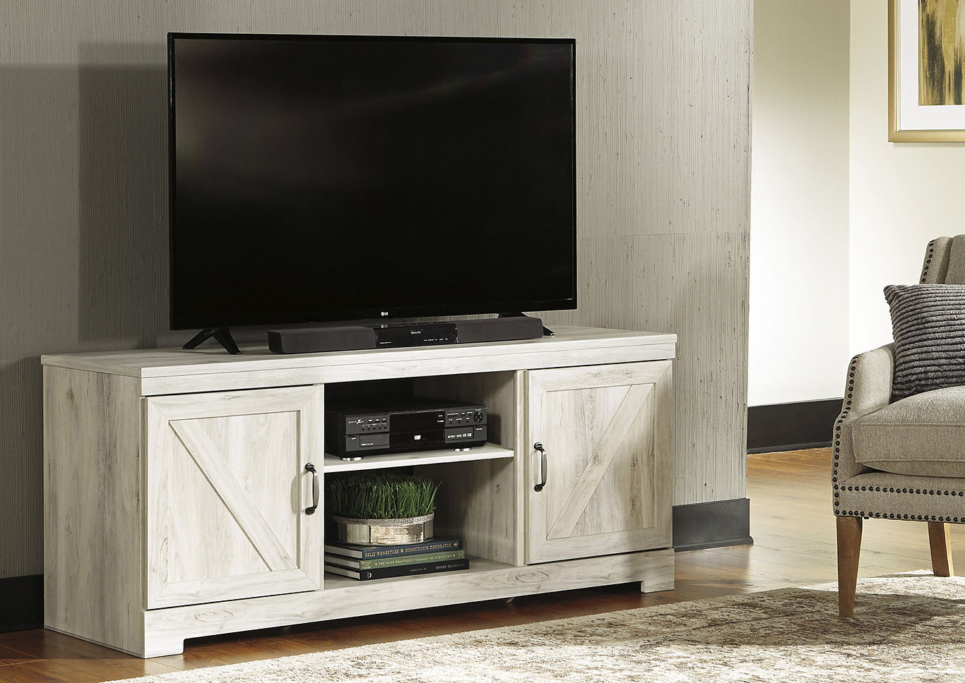 Bellaby Whitewash LG TV Stand w/Fireplace Option,Signature Design By Ashley