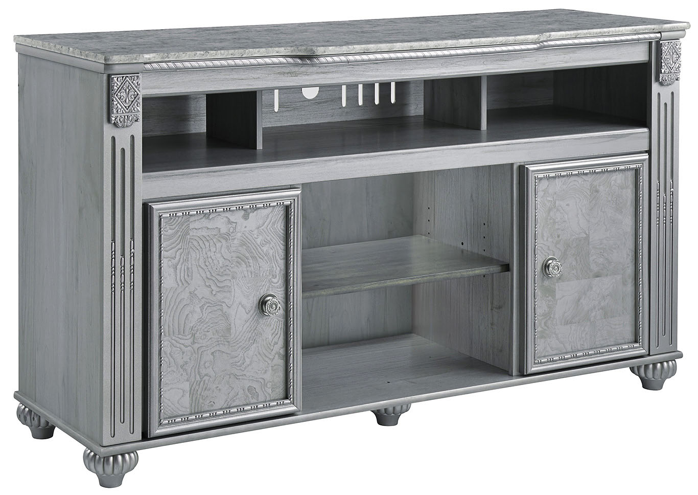 Zolena Champagne LG TV Stand w/Fireplace Option,Signature Design By Ashley