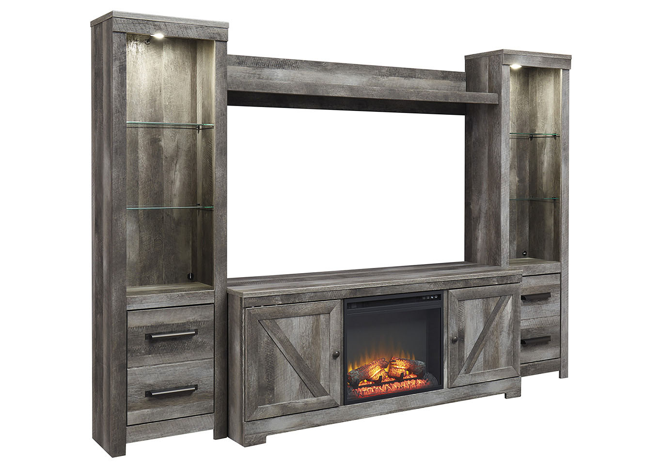Wynnlow Gray Entertainment Center w/Black Fireplace Insert,Signature Design By Ashley