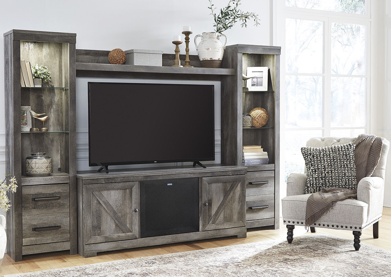 Wynnlow Gray Entertainment Center w/Black Large Integrated Audio,Signature Design By Ashley