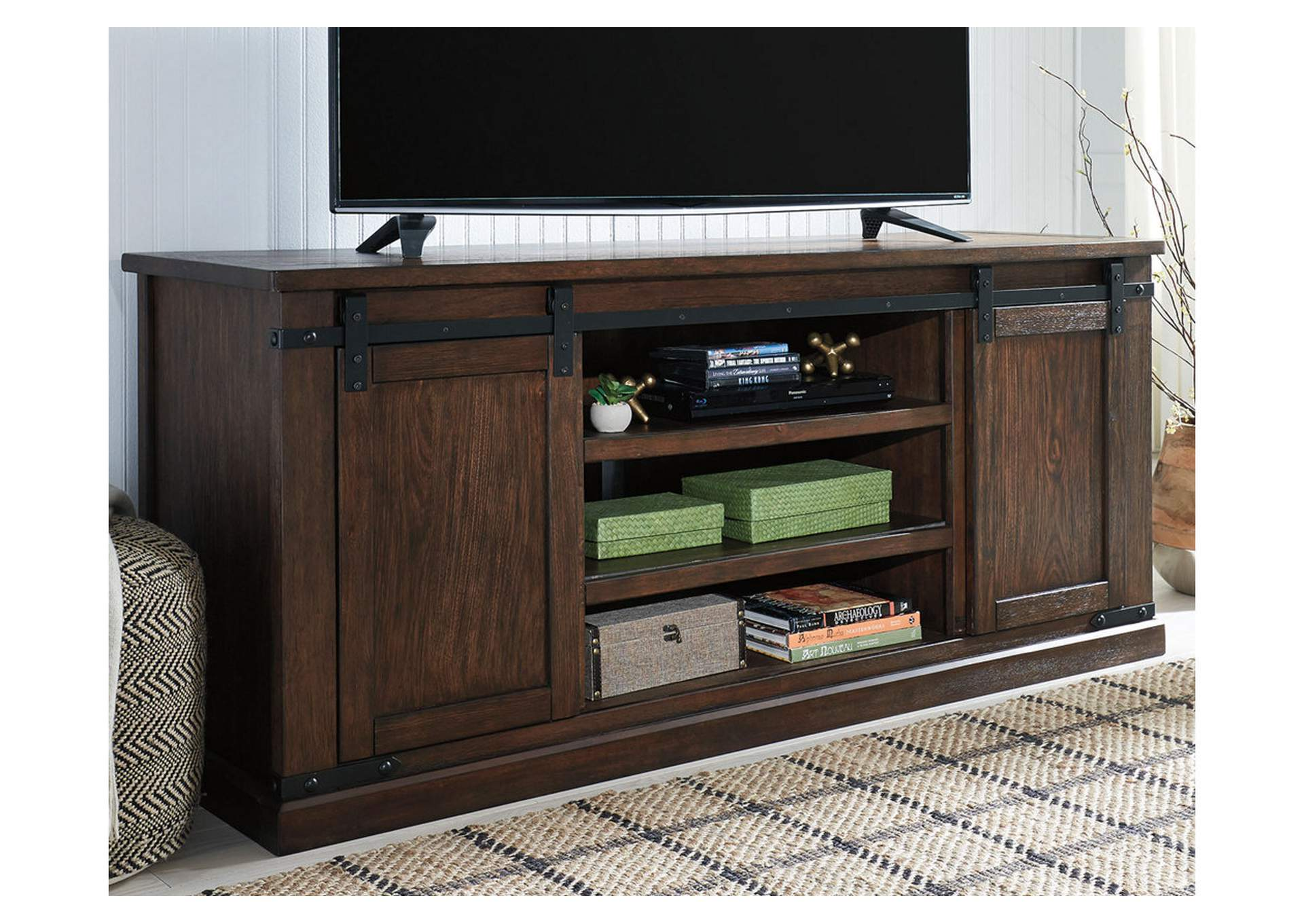 Budmore Rustic Brown Extra Large Tv Stand The Furniture Shop Duncanville Tx