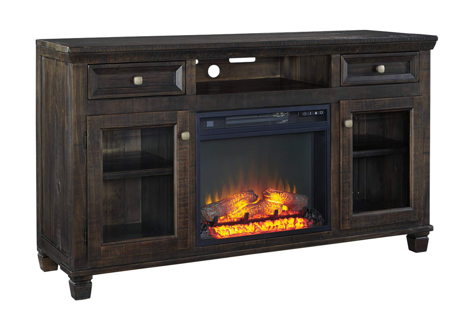 Townser Grayish Brown LG TV Stand w/Fireplace,Signature Design By Ashley