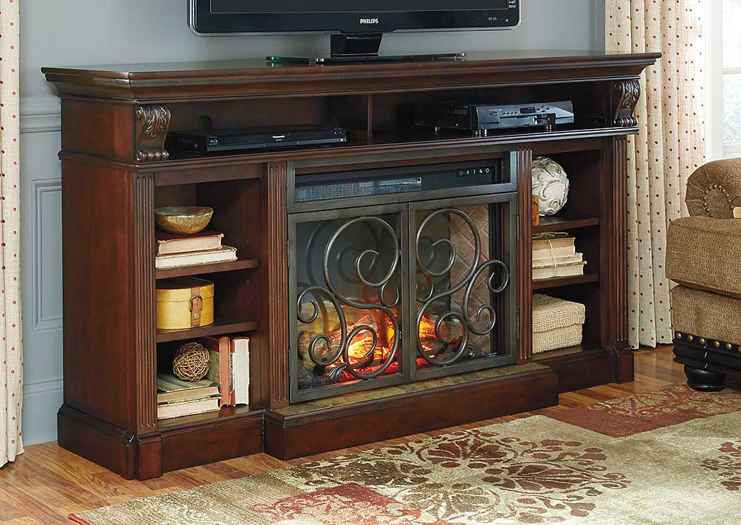 Vintage Casual Is In And This Warm Brown Tv Stand Is A Great Example The Quinden Tv Stand By Ashley Furniture Has A Warm Dark Finish Over Replicated Oak. Shay 4piece Center Wall Ashley Shay Collection. Full Size Of Living Fireplace Tv Stand Barn Door Fire