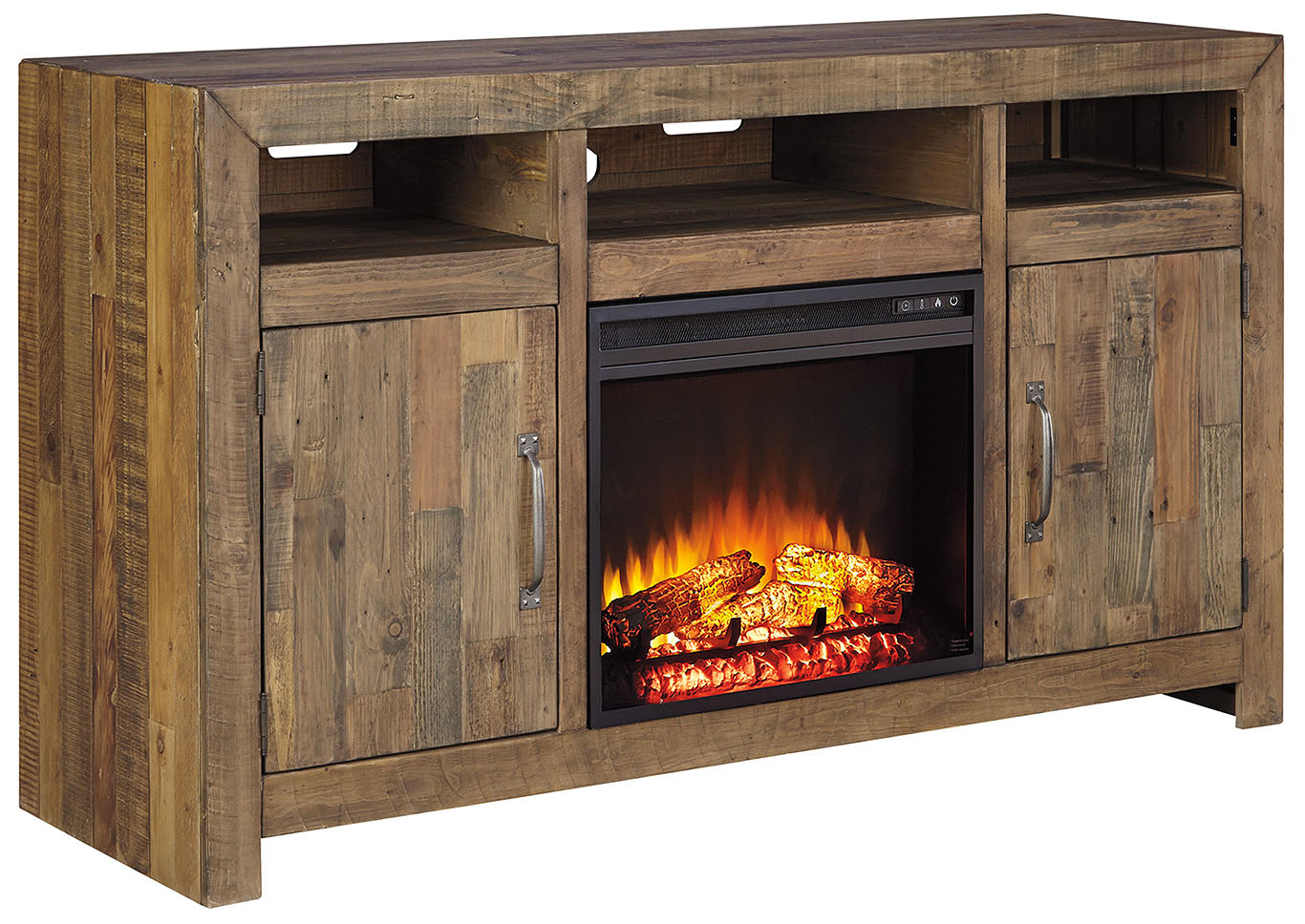 Sommerford Brown LG TV Stand w/Fireplace,Signature Design By Ashley