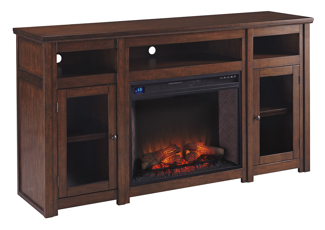 Harpan Reddish Brown XL TV Stand w/Fireplace,Signature Design By Ashley