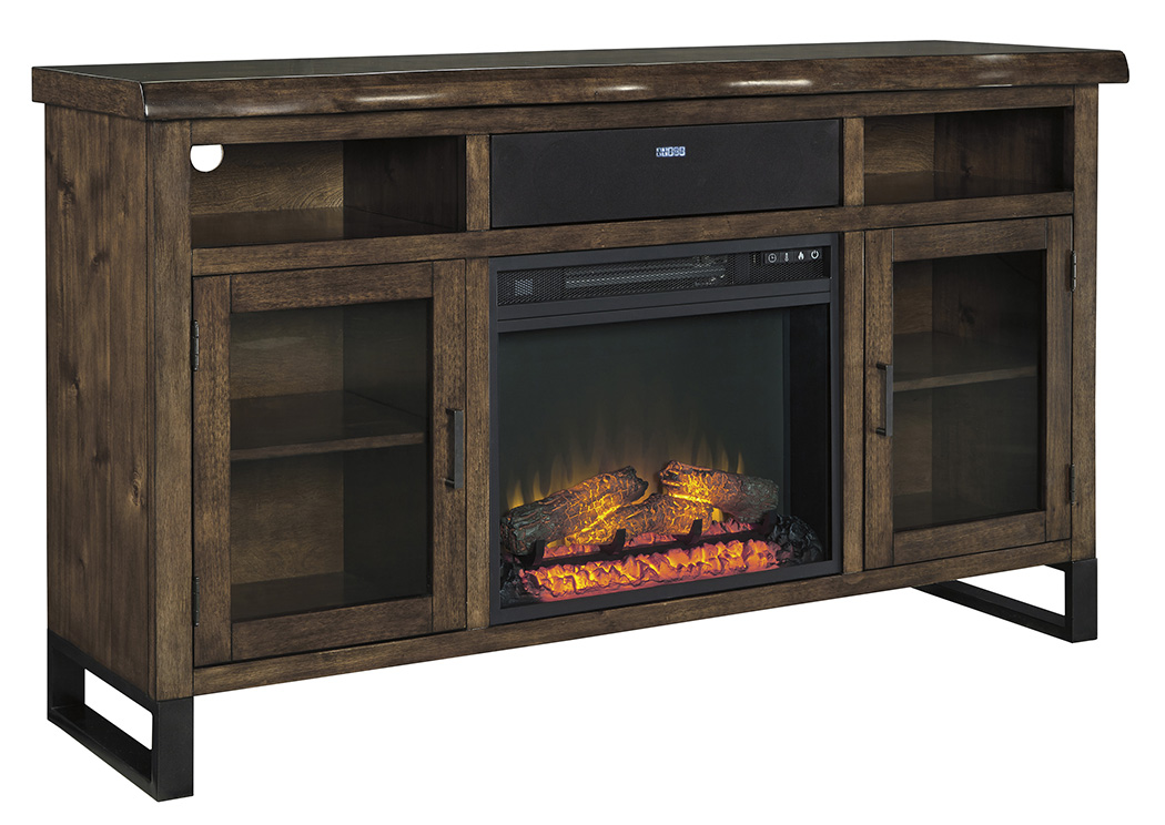 Esmarina Walnut Brown Large TV Stand W/Fireplace And Small Integrated  Audio,Signature Design