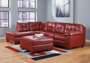 Alliston DuraBlend Red Left Facing Chaise End Sectional & Oversized Accent Ottoman