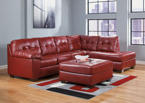 Alliston DuraBlend Red LAF Chaise Sectional & Oversized Accent Ottoman