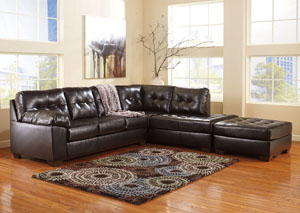 Alliston DuraBlend Chocolate LAF Chaise Sectional & Oversized Accent Ottoman