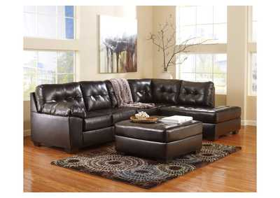 Alliston DuraBlend Chocolate Left Facing Chaise End Sectional & Oversized Accent Ottoman