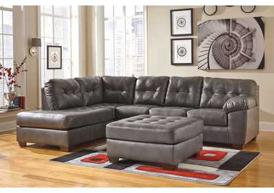 Alliston DuraBlend Gray LAF Chaise Sectional & Oversized Accent Ottoman