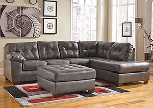 Alliston DuraBlend Gray Right Arm Facing Chaise End Sectional & Oversized Accent Ottoman